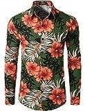 JOGAL Men's Flower Long Sleeve Casual Button Down Shirts Green Large