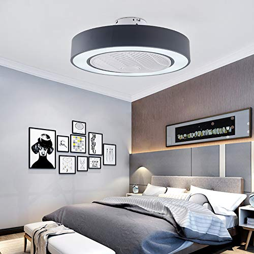 Orillon Modern Macaron Flush Mount Ceiling Fan with Light for Indoor Kitchen Bathroom Bedroom,Remote LED 3 Color Lighting Low Profile Quiet Electric Fan with 4 ABS Blades, 22 inches Black