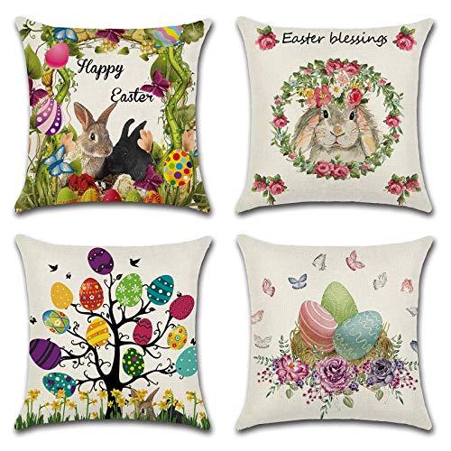 NouveLife Juego de 4 fundas de almohada de 45,7 x 45,7 cm, decoración de conejito de Pascua y huevos para el hogar, fundas de cojín
