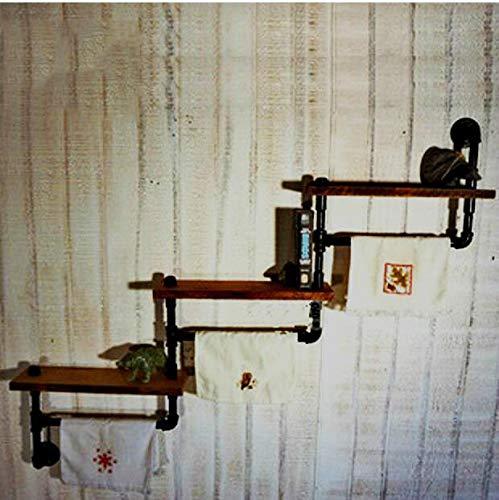 MBYW moderne handdoek rek badkamer handdoekenrek Amerikaanse retro/oude smeedijzer/massief hout boekenkast/creatieve muur opknoping rek/water pijp plank/handdoek rek/kapstok (120 * 20 * 75cm)