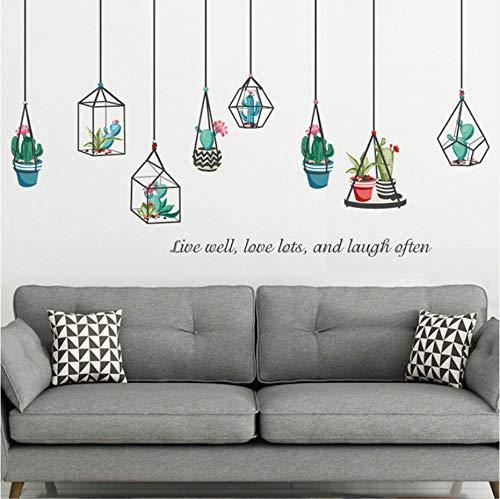 GVFTG kroonluchter planten in vaas, groot, wandsticker, decoratie voor thuis, woonkamer, om te knutselen, muurkunst, afneembare muursticker, 137 x 100 cm