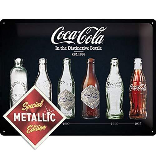 Nostalgic-Art Retro Blechschild Coca-Cola – Bottle Timeline – Geschenk-Idee für Coke-Fans, aus Metall, Vintage-Design zur Dekoration, 30 x 40 cm