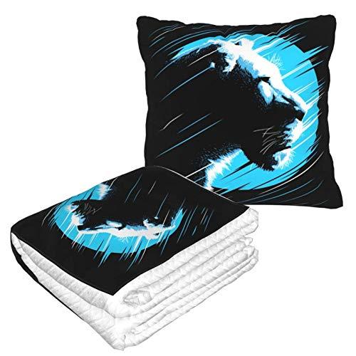 Manta suave 2 en 1 de almohada de ataque de león para camping, sala de estar, sofá, oficina, para hombres y niños