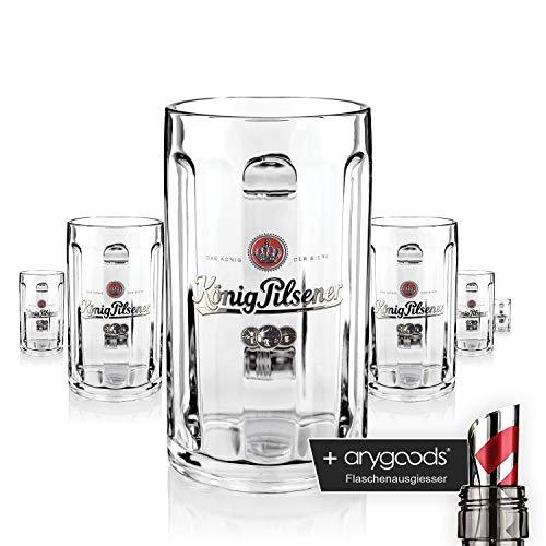 6 x König Pilsener Glas Gläser 0,5l Glückauf Seidel Bierglas Gastro Bar Deko NEU + anygoods Flaschenausgiesser
