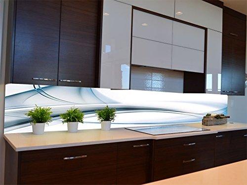 Dalinda® Küchenrückwand Küchenboard Küchenrückseite mit Design Blaue Glaswelle KR110