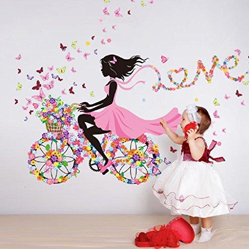 Coloridas mariposas bicicleta chica pegatinas de pared de vinilo DIY arte mural para cuartos de niños decoración de jardín de infantes