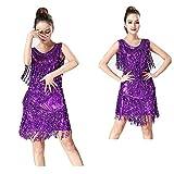 ベリーダンスドレス 女性用ダンスホールサンバダンスタンゴダンス衣装スイングルンバドレスメタルスパンコールタッセル 女性ダンス衣装 (色 : 紫の, サイズ : XL)