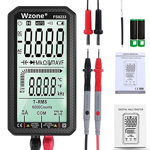 Wzone Multimetro Digitale - Tester Digitale TRMS 6000 Conta AC/DC Corrente Tensione Ohmmetro/Resistenza/Continuità/Capacità/Temperatura/Frequenza/Diodo