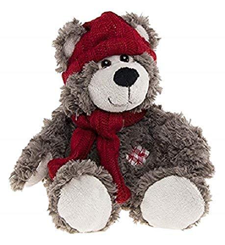 Enesco – 770767 – Kalidou – pluche beer met muts – sjaal rood