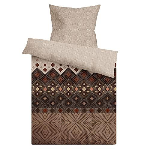 LARAWELL Bettwäsche 135x200 Baumwolle braun beige geometrisch Premium