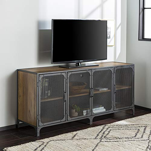 WE Furniture Industrial Metal Mesh Universal Stand with Cabinet Doors TV's up to 64' Flat Screen Living Room Storage Entertainment Center, 60 Inch, Rustic Oak