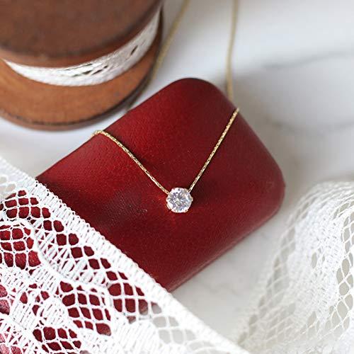 QiuYueShangMao Brilliant Diamond Zircon Six Prong Diamond Bamboo Link Chain Collar Clavícula Cadena de luz Personalizadas Collar Mujer joyería Collar