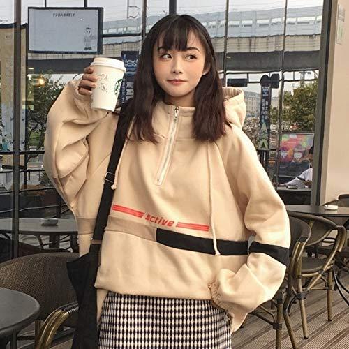New Winter New Ulzzang Fashion Letter Hooded Loose Loose Letter Sweatshirt Fun Tops Harajuku Casual Female Sweatshirt L Beige