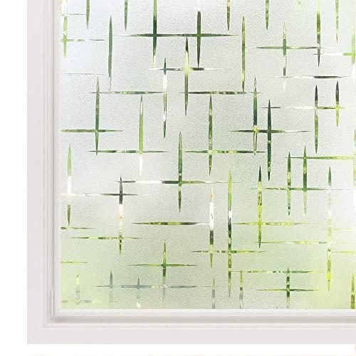 Privacy Raamfolie Wit Kruis, Zelfklevende Berijpte Raamfolie Verwijderbare Statische Zelfklevende Decoratieve Glazen Raamsticker, 90x200cm