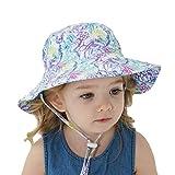 赤ちゃん漁師の帽子ベビーサンハット 夏の漁師の帽子 ベビー 帽子 夏子供用サンハット、サンプロテクションビーチバケットハットワイドブリムサマーキャップ liberal