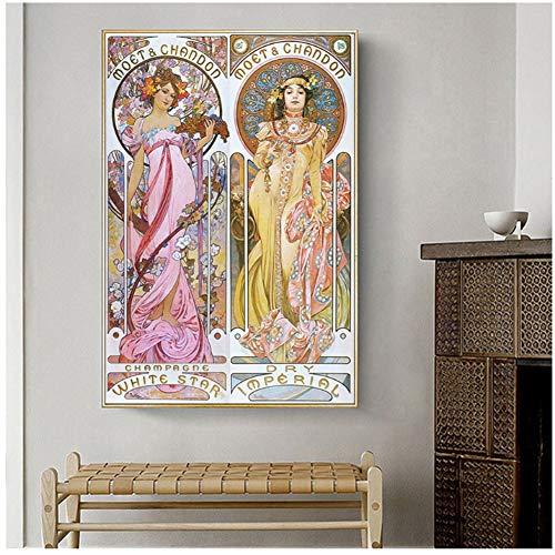 yhyxll Vintage Leinwand Poster Alphonse Mucha und Druck dekorative Jugendstil Leinwand Gemälde Wandkunst Piuctures -60x90cm No Frame