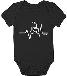 HARIZ Body para bebé de manga corta con diseño de tractor de frecuencia cardíaca, incluye tarjetas de regalo