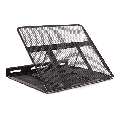 Duronic Monitor Laptop Stand DM074 | Multi-Use Desk Riser | Adjustable to 6x Height Positions | Foldable Portable Ergonomic Design | Mesh Support Tray for Tablet or MacBook | Portable