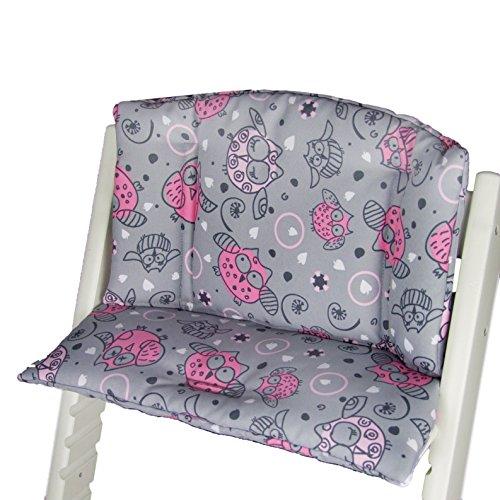 Babys-Dreams zitkussen pad zitkussenset voor stokken Tripp Trap hoge stoel (Grijs Roze/Roze Dikke Uulen§2)