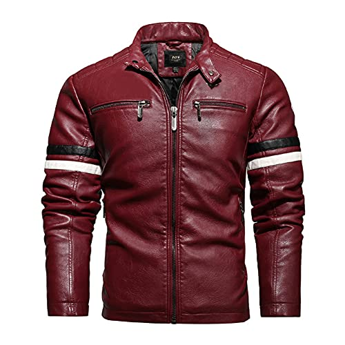 ZDSKSH Chaqueta de cuero para motocicleta vintage para hombre, chaqueta de cuero Cafe Racer