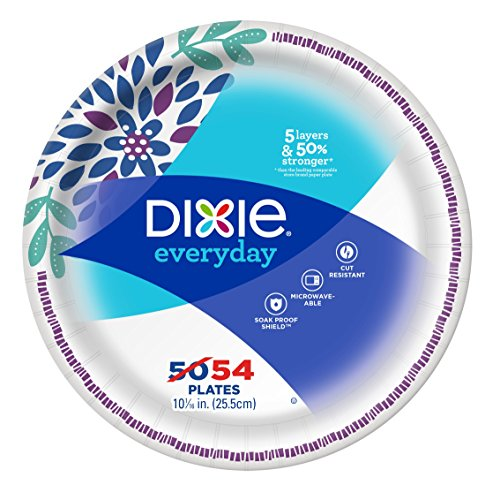 Dixie Paper Dinner Plates, 10 1/16 Inch, 54 Ct