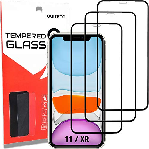 3 Pezzi, Vetro Temperato per iPhone 11 e iPhone XR, Copertura Totale, Pellicola Prottetiva Anti Graffio, Anti-Impronte, Durezza 9H, 0,33mm Ultra Trasparente, Ultra Resistente