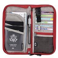 Zoppen RFID Travel Passport Wallet & Documents Organizer Zipper Case with Removable Wristlet Strap