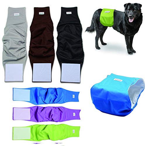 Bright Sun Best Dog Diapers Reusable Washable Belly Band Waterproof for Male Dogs Small XL Large #QSAS (S, Green, Purple, Blue)