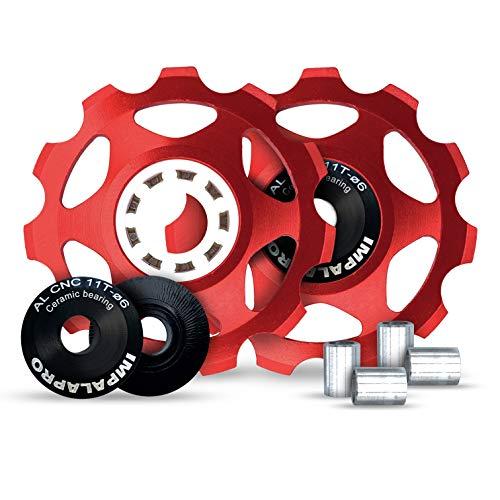 IMPALAPRO Bike Set 2 roldanas, Ruedas o poleas Jockey (11T) Cambio o desviador Trasero Aluminio CNC ultraligeras y Resistentes con rodamiento cerámica para Bici montaña (MTB) o Carretera (Rojo)