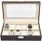 12 Piece Chocolate Brown Leatherette Men's Watch Box Display Case Collection Jewelry Box Storage Glass Top Father's Day