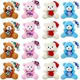 12 Pieces Christmas Joint Mini Bear 3.15 Inch Plush Stuffed Animal Toys Wedding Present Box Doll Toy Soft for Birthday Cake Wedding Party Favors Decorations Supplies Bag Keychain DIY Accessory
