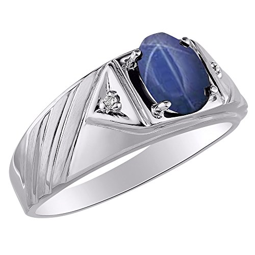 RYLOS Anillos para hombre de oro blanco de 14 quilates - Anillo de diamantes y zafiro de estrella azul de 8 x 6 mm de color de piedra preciosa para hombres joyería anillos de oro