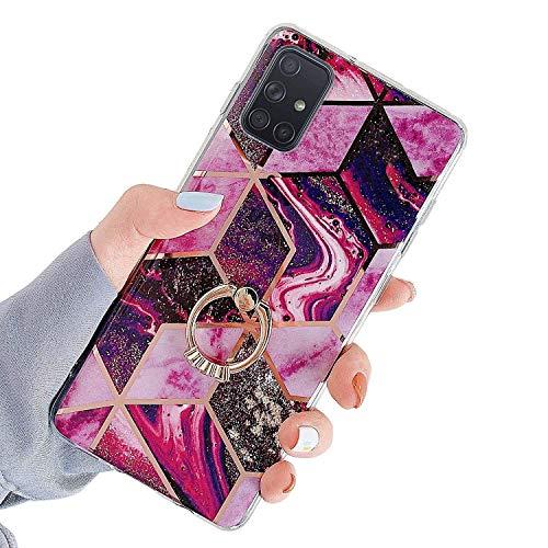 Uposao Kompatibel mit Samsung Galaxy A71 Hülle Silikon Glitzer Bling Marmor Handyhülle 360 Grad Ring Ständer Halter Diamant Weich TPU Schutzhülle Ultra Dünn Soft Kratzfest Hülle Case,Lila Rose