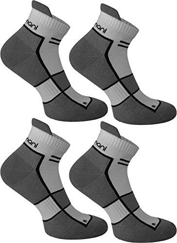 normani 4 Paar Running Sport Sneaker Funktionssocken mit Frotteesohle verstärkt Farbe Excalibur Größe 43/46
