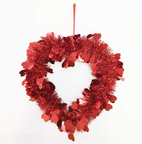 N+A Red Metal Wire Heart-shaped Garland Decoration-Valentine's Day Outdoor Indoor Garland Decoration-party Decorations (16 Inches)