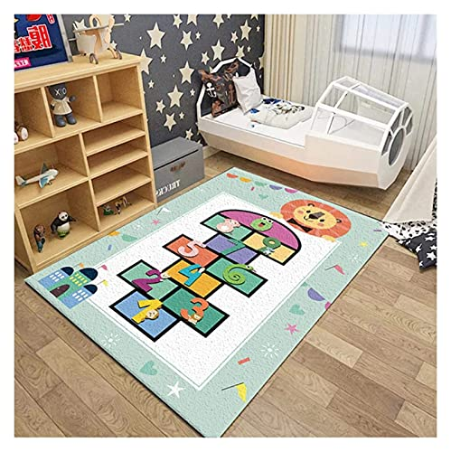 Nursery Niño Mat Mat De Dibujos Animados Hopscotch Patrón Alfombras, Poliéster Suave, Dormitorio Al Lado De La Cama Alfombra Antiincrustante para Sala De Estar Habitación Dormitorio 80x160cm