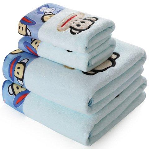 JIUJ Toalla de baño de Microfibra Gruesa para Regalo de Playa Toalla de Pelo seco Aumento, Blue Big-mouthed Monkey, 70 * 140