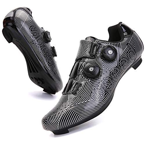 KUXUAN Zapatillas de Ciclismo para Hombre Zapatillas de Bicicleta de Carretera con Zapatillas SPD Peloton con Hebilla Delta Compatible para Carreras de Equitación en Interiores,Black-7UK=(255mm)=41EU