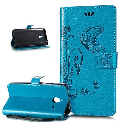 Kompatibel mit Schutzhülle Microsoft Lumia 640 XL Hülle Leder Wallet Tasche Schutzhülle,Prägung Groß Schmetterling Blumen Muster PU Lederhülle Flip Hülle Cover Schale Ständer Wallet Schutzhülle,Blau