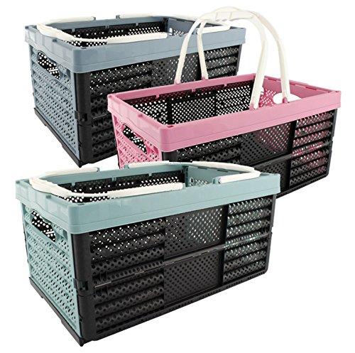 Klappbox Einkaufskorb Korb mit Henkel 16 Liter 3-farbig sortiert 3 Stück Set