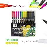 24/12/36 Rotulador de doble marcador,rotulador de coloración de punta fina y rotulador de pincel para dibujar a mano