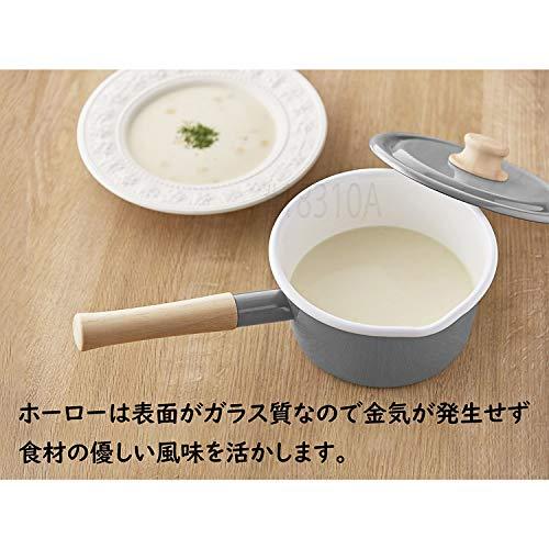 富士ホーロー片手鍋ソースパンIH対応コットンシリーズライトグレー16cmCTN-16S.LG