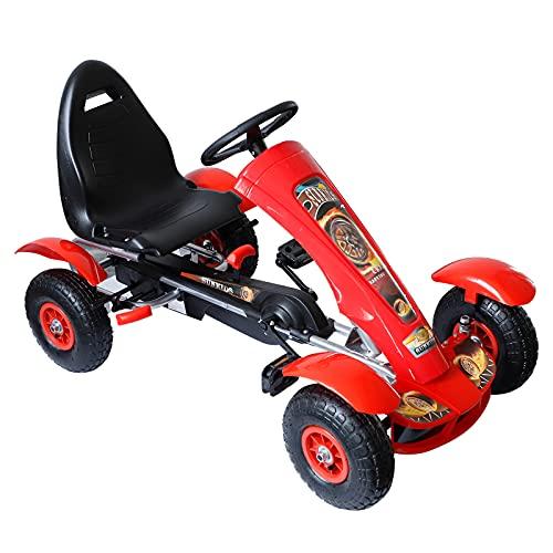 homcom Go-Kart a Pedali Sedile Ergonomico Freno a Mano per Bambini 3-8 Anni Acciaio e Plastica 113x62x65cm Rosso