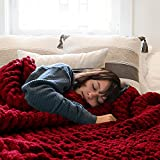 Comtest Chunky Knit Blanket Handmade Soft Throw Blanket Cozy and Warm Cable Knit Blanket for Sofa &Home Decor, Wine Red 80''x80''(King Size)
