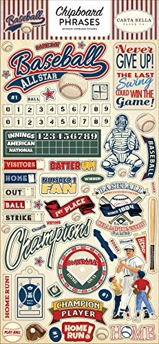 Carta Bella Paper Company CBBA95022 - Tablero de madera aglomerada para béisbol (6 x 13 frases, color marrón, rojo, azul, azul marino, verde, amarillo)