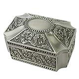 Joyero Caja de joyería de la vendimia Tipo de cúpula cuadrada que restaura formas antiguas talla Figura Europa Aleación de zinc Caja de joyería Anillo Collar Pulsera Organizador de almacenamiento Rega