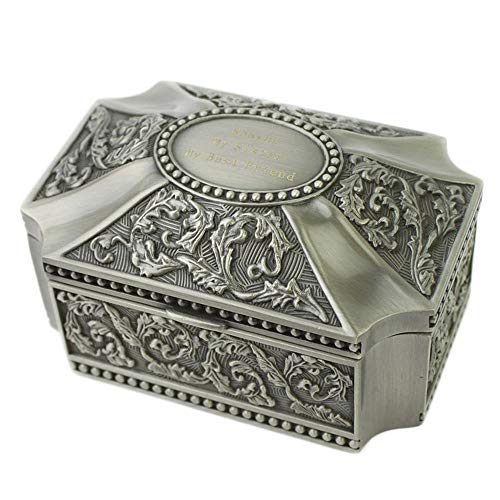 Joyero maleta joyero caja de almacenamiento Caja de joyería de la vendimia Tipo de cúpula cuadrada que restaura formas antiguas talla Figura Europa Aleación de zinc Caja de joyería Anillo Collar Pulse