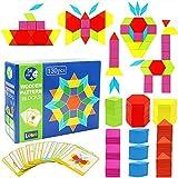 Lewo 130 Teilig Holzpuzzles Geometrische Formen Puzzle Bausteine Montessori Spielzeug Lernspielzeug...