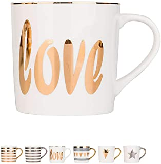 12.3Oz Ceramic Mug for Office and Home Gold Rim Coffee Cup Perfect Gift for Family, Friend and Lover, Type Six
