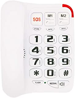 Big Button Corded Phone with 3 One-Touch Speed Dial, HePesTer HP-45 Picture Care Phone for Seniors with Memory Protection/Wall Mountable/SOS Emergency
